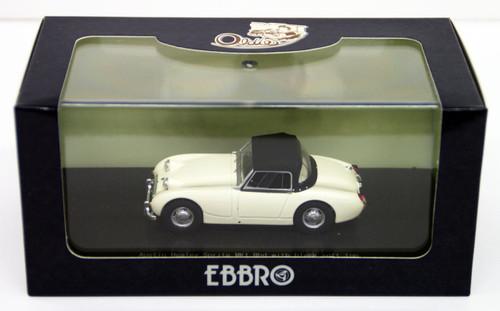 Ebbro 44458 AUSTIN HEALEY Sprite MK1Rhd White with black soft top 1/43 Scale