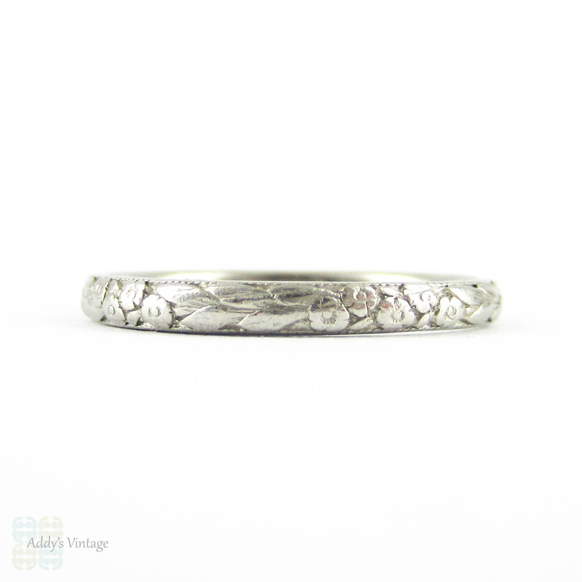 ring rare wedding size img small floral engraved deco image art e design platinum bands circa band