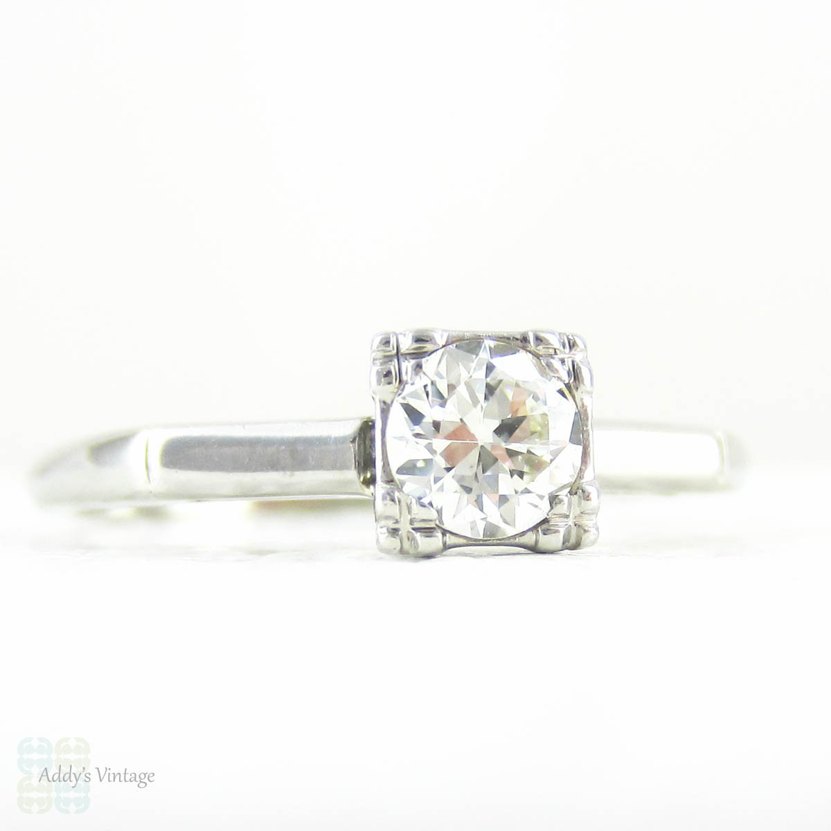 Vintage Diamond Solitaire Engagement Ring Old European