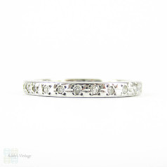 Vintage Diamond Eternity Ring, 18 Carat White Gold Pave Full Hoop Diamond Wedding, Anniversary Ring. Circa 1950s, Size P / 7.75.