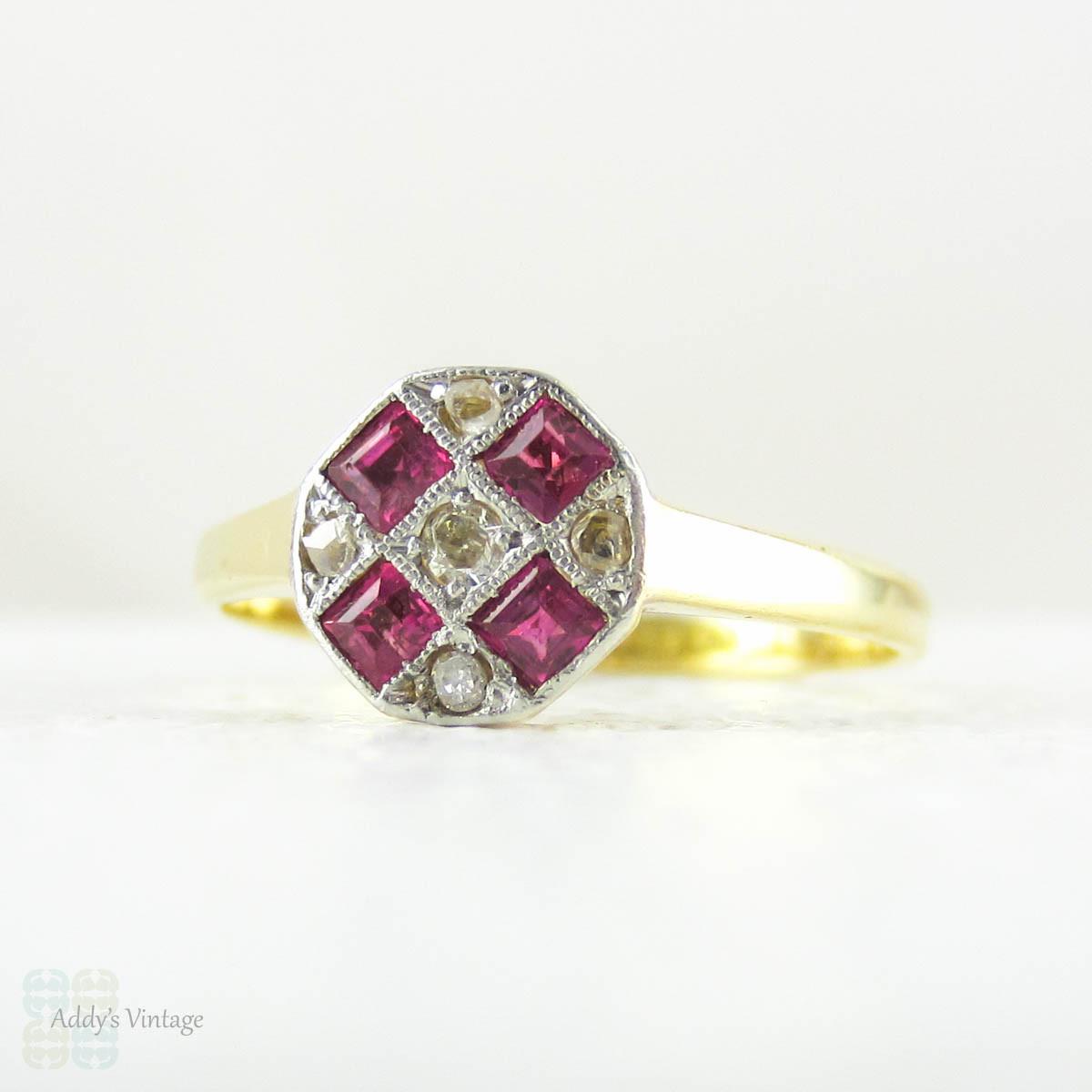 Vintage Ruby Amp Diamond Engagement Ring Square Cut Pinkish