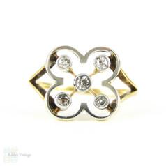 Art Deco Quarterfoil Design Ring, 5 Old Cut Diamonds in 9ct & Platinum. Circa 1920s.