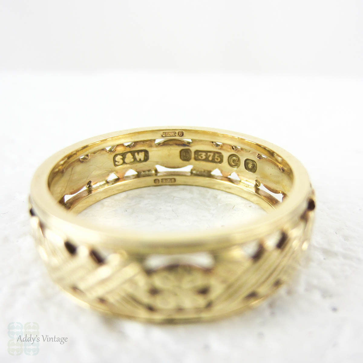 Floral Pierced Wide Wedding Ring, Ladies 9 Carat Yellow Gold ...