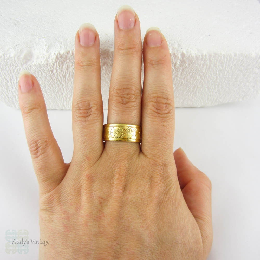 Antique 22 Carat Gold Wedding Ring Wide Engraved Design Mans