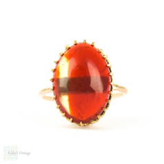 Vintage Carnelian Solitaire Ring, Conversion 9 Carat Gold Victorian Oval Shape Cabochon Cut Red Carnelian Claw Set Ring.