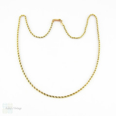 SALE Antique 9 Carat Gold Chain, Rope Style Link Chain Necklace with Barrel Clasp. 40.5 cm / 16 inches long, 3.18 grams.