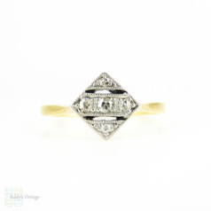 Art Deco Square Set Diamond Ring, Five Stone in Triple Row Pierced Style Setting with Milgrain Beading. 18ct & Platinum, Circa 1930s.