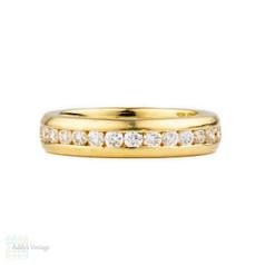 Diamond Eternity 18k Ring, Heavy Channel Set 18ct Wedding Band. Size J.5 / 5.1.