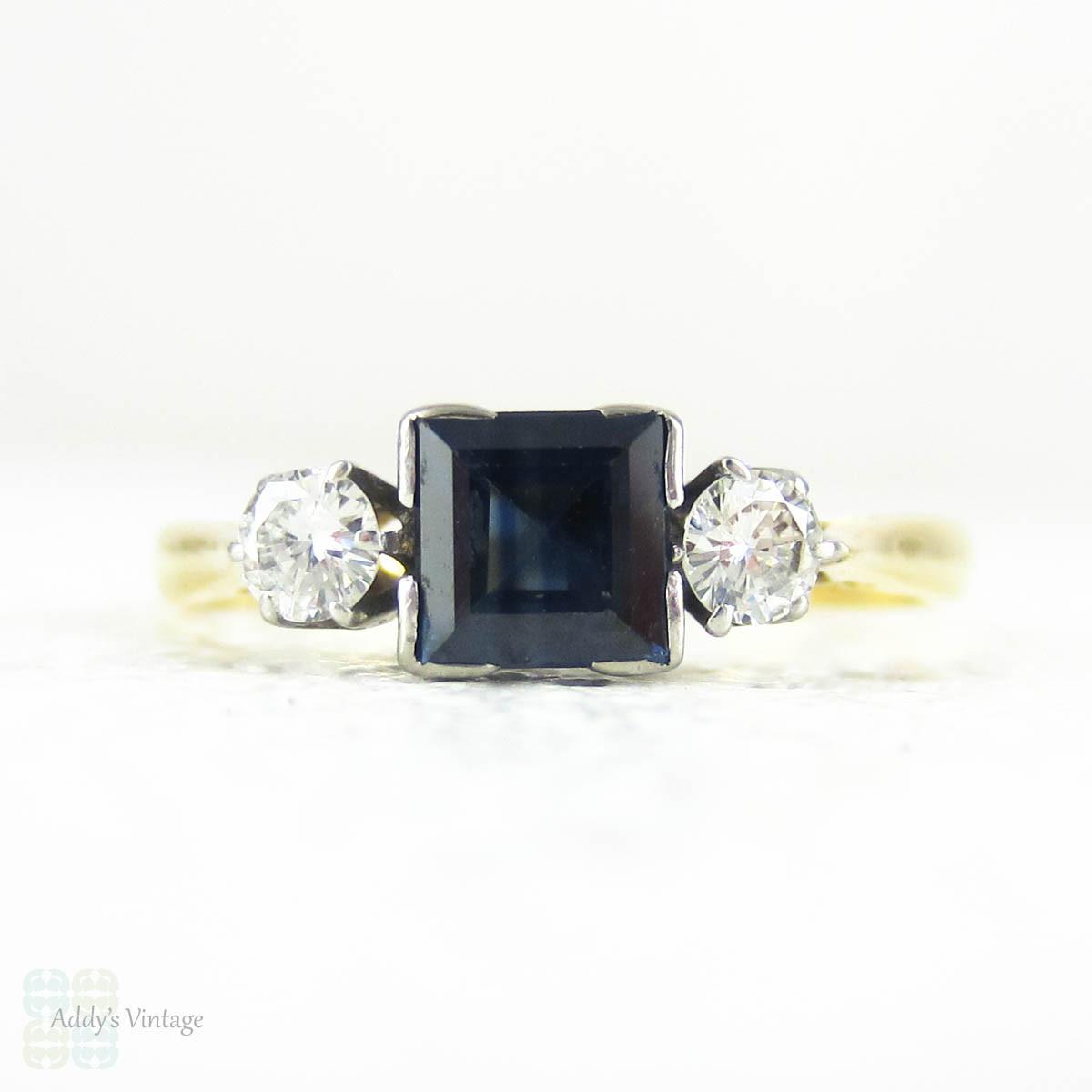 Sapphire Amp Diamond Engagement Ring Mid Century Vintage