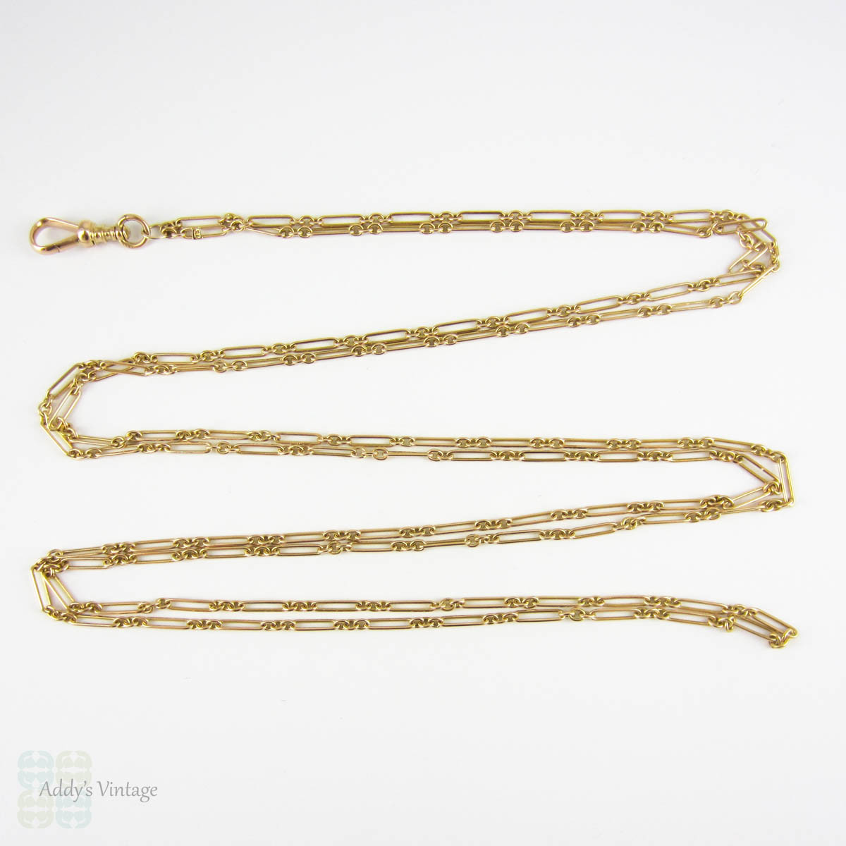 victorian 15 carat gold long guard chain antique alternating oval round links circa 1880s. Black Bedroom Furniture Sets. Home Design Ideas