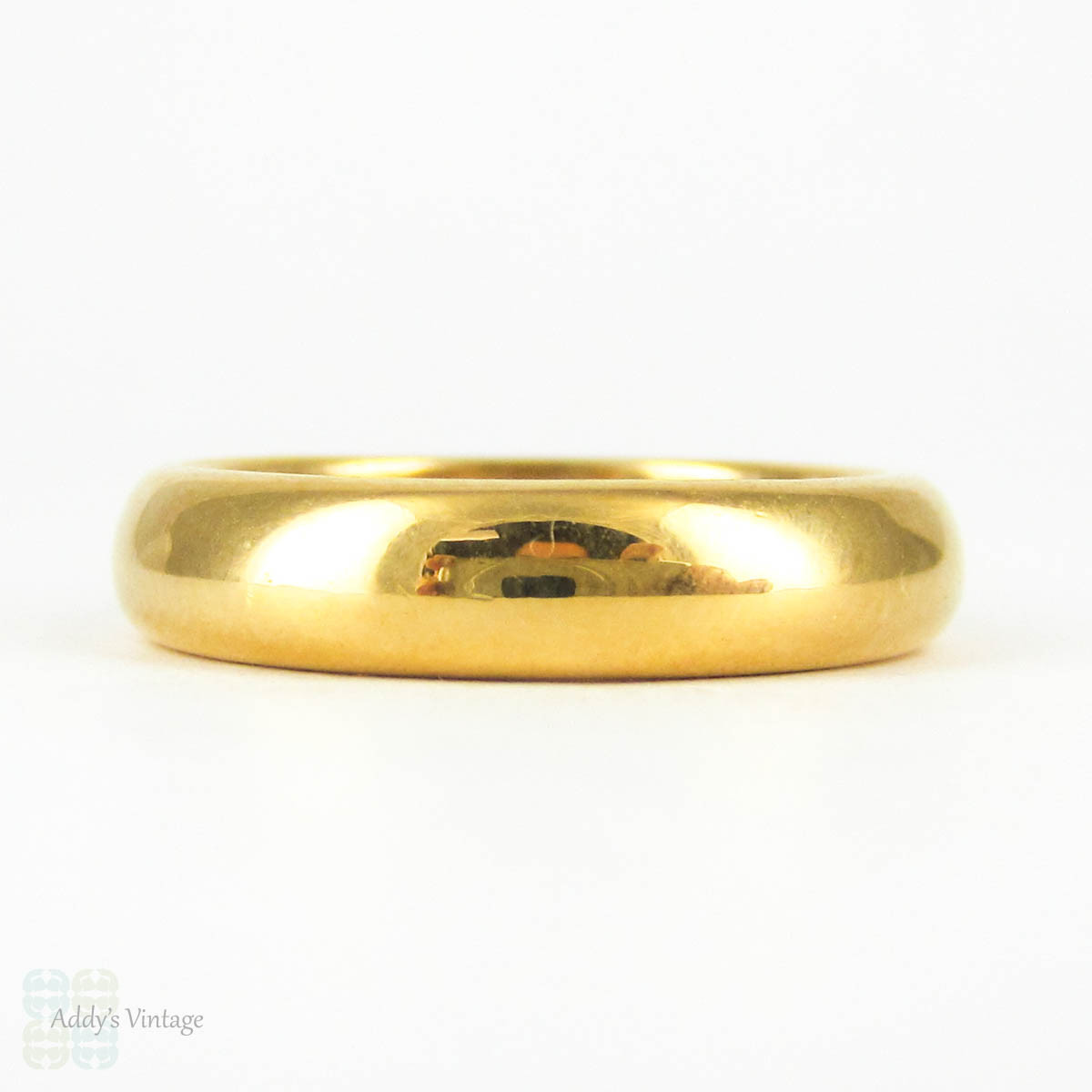 RESERVED Art Deco 22 Carat Gold Wedding Ring Heavy D Profile Rosy
