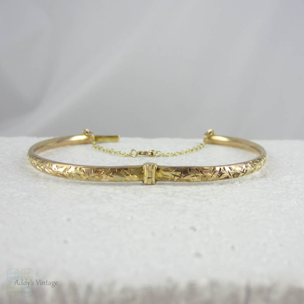 victorian beautiful narrow childs s with design img antique child baby bangle bracelet image ivy yellow gold engraved