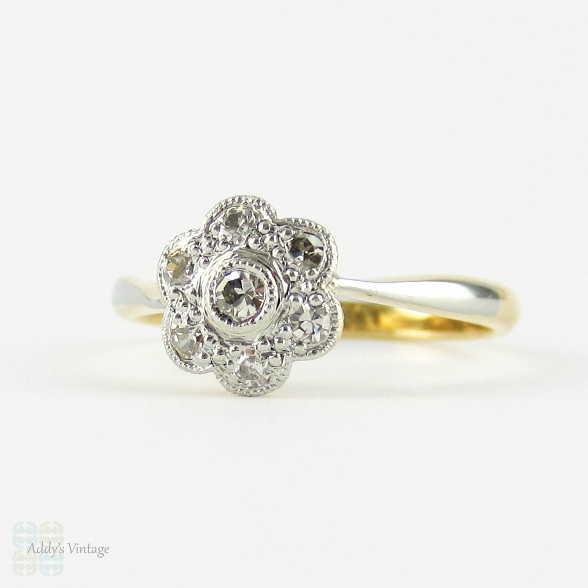 Antique Floral Diamond Ring Daisy Flower Shape Diamond