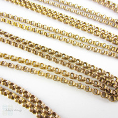Antique Victorian Long Guard Chain, 9 Carat Gold Fancy Rolo Style Link Necklace with Dog Clip. Circa 1880s, 146 cm / 57.5 inches, 23.55 grams.