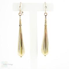 Antique Long Torpedo Drop Earrings, 15 Carat Yellow Gold Dangle Earrings. Late Victorian Circa 1890s.