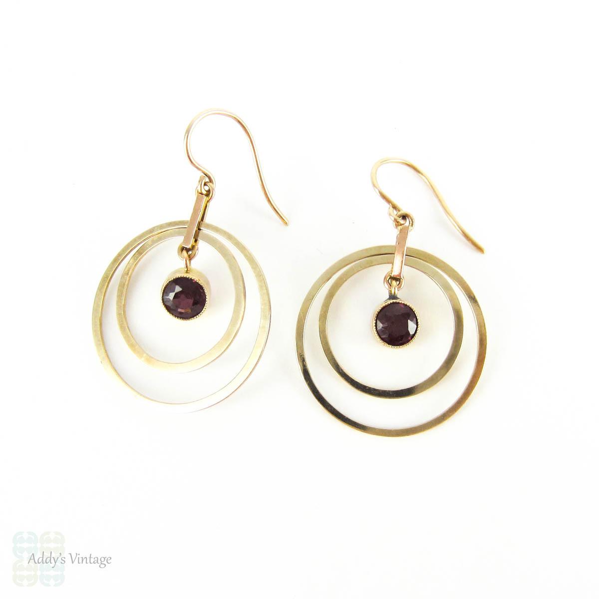 Concentric Circle Earrings: Retro Garnet 9ct Gold Earrings, Concentric Circle