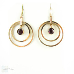 Retro Garnet 9ct Gold Earrings, Concentric Circle Articulated Pierced Dangle Earrings. Circa 1940s.