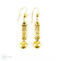 Antique Victorian Dangle Earrings, Long 15 Carat Gold Articulated Dome & Rod Earrings. Circa 1880s.