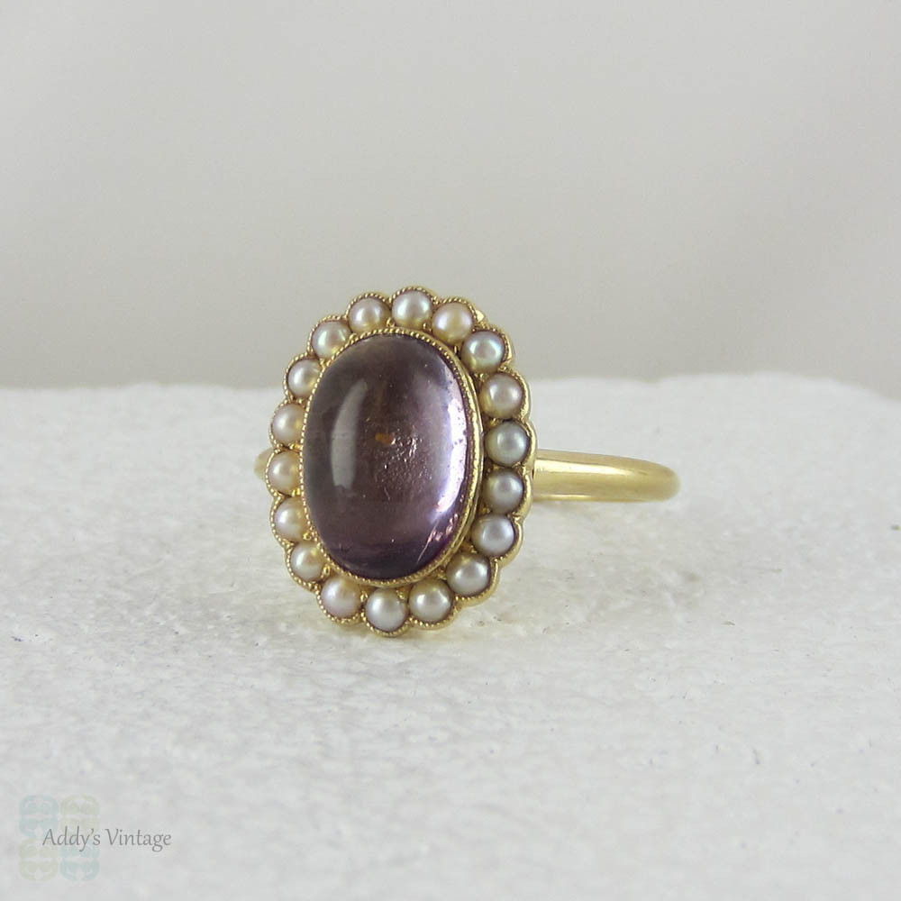 Victorian Amethyst Cabochon Amp Seed Pearl Ring In Yellow