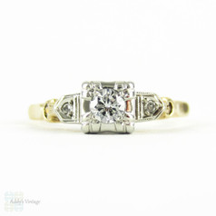 Vintage 1940s Diamond Engagement Ring, 14 Carat Yellow & White Gold Three Stone Diamond Ring.