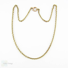 Antique Rolo Link 9ct Chain Necklace, Heavy 10.25 Gram Rounded Link Chain. Circa Late 1800s, 44.5 cm / 17.5 inches.
