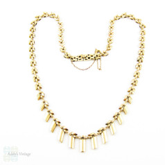 Vintage 9ct Gold Cleopatra Style Fringe Necklace, Graduated Bar Links. Circa 1960s.