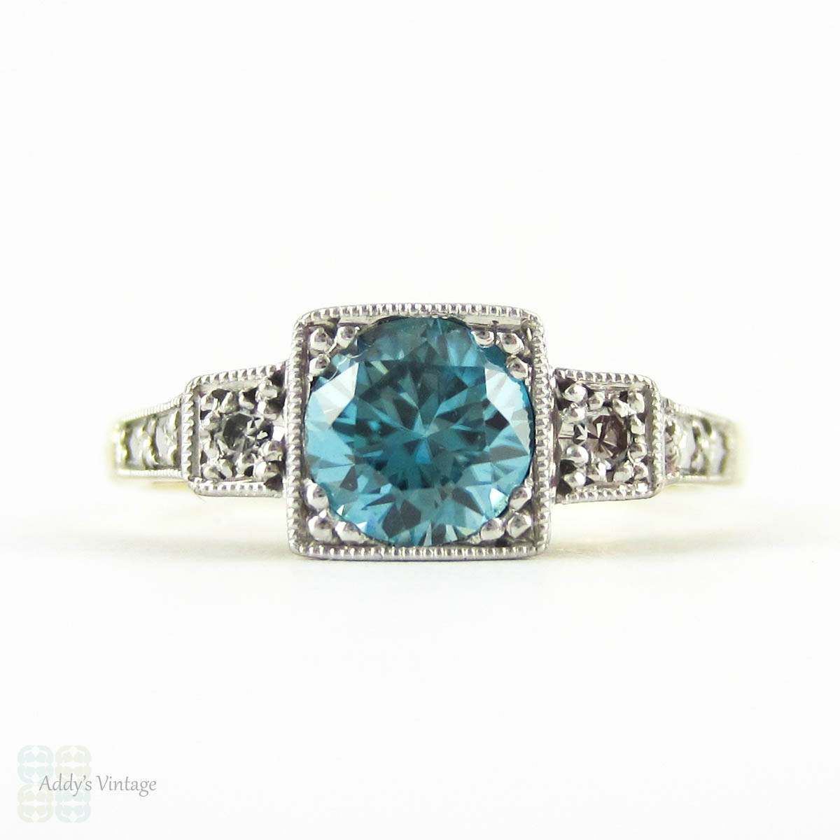 Vintage Blue Zircon Amp Diamond Engagement Ring Three Stone
