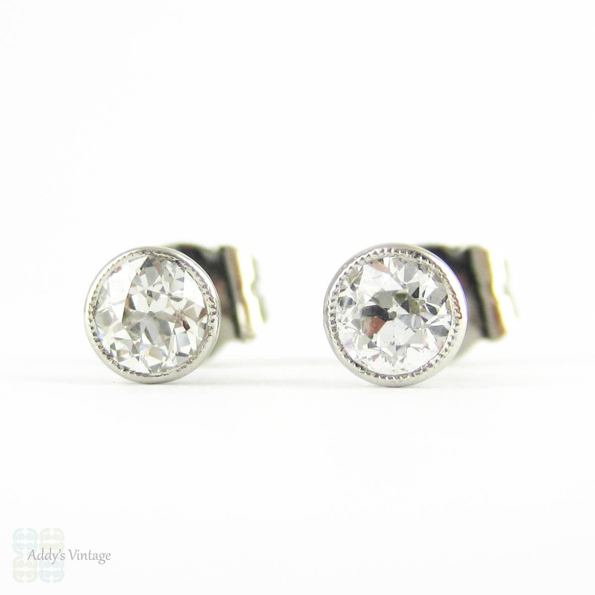 Old European Cut Diamonds Platinum Bezel Set Diamond Stud