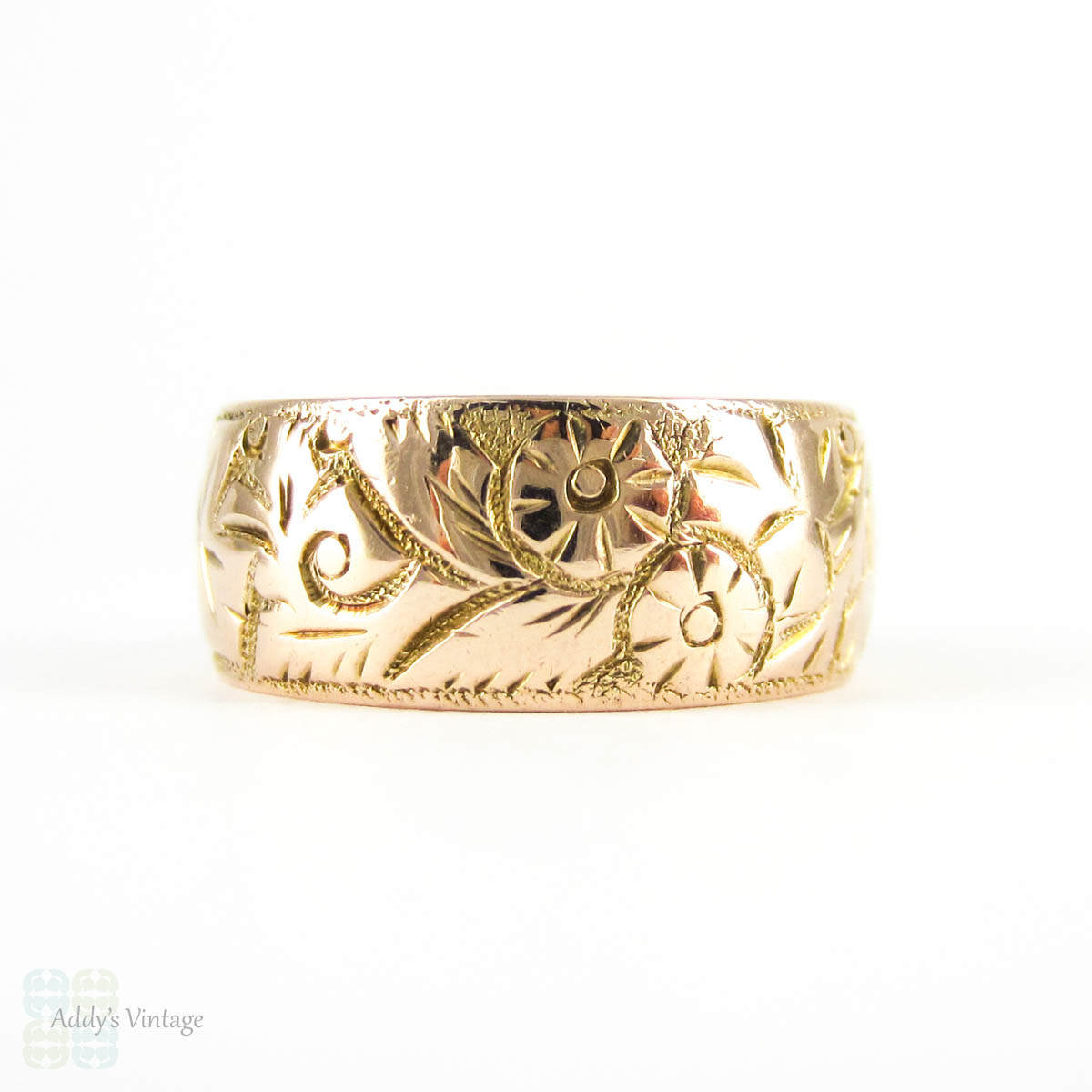 Antique Wide 9ct Wedding Ring Wide Foliate Design