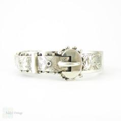 Antique Sterling Silver Buckle Bangle Bracelet Engraved with Ivy Leaf Design, English Bracelet Hallmarked 1880s.