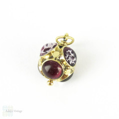 Antique Amethyst Charm Bauble, Pink & Purple Amethyst Cabochon Studded 9ct Gold Pendant Charm. Circa 1800s.
