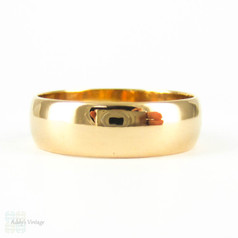 Antique 22ct Wide Wedding Ring, Edwardian 1910s Men's or Women's D Shape Profile Wedding Band. Size O.5 / 7.5.