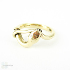Vintage Snake Ring, 9ct Yellow Gold Coiled Snake Ring. Circa 1980s, Size I.5 / 4.5.