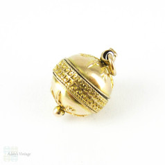 Antique Victorian 10ct Ball Charm, Sphere Bauble with Foliate & Tulip Design. 10k Yellow Gold Pendant Charm.