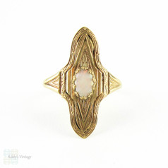 Antique Opal Plaque Ring, Engraved Navette Shape 10k Gold Opal Ring, Circa Late 1800s.