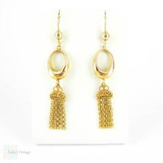 Antique 9ct Gold Hoop & Tassel Earrings, Long Articulated Dangle Earrings. Circa 1900.