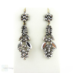 Antique Cut Steel Earrings, Victorian Cluster Cut Steel Hobnail & Leaf Design. 9ct Gold Earwires, Circa 1860s.