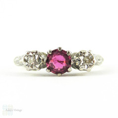 Mid Century Pink Sapphire & Diamond Engagement Ring, Two Tone 18ct Three Stone Ring in Engraved Mounting. Circa 1960s.