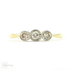 Art Deco Three Stone Diamond Ring, Dainty Vintage Bezel Set Three Stone Engagement Ring. 0.15 ctw in 18ct Gold & Platinum.