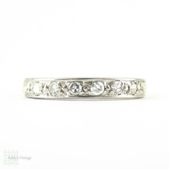 Vintage Diamond Wedding Ring, Half Hoop 8 Stone Diamond Eternity Anniversary Ring in 18 Carat Two Tone Gold.
