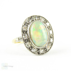Vintage Opal & Diamond Ring, Oval Cut Opal Cabochon with Diamond Halo. Cocktail Ring in 18ct & Plat.