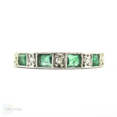Emerald & Diamond Half Hoop Engraved Ring, Alternating Square Emeralds & Single Cut Diamonds. 18ct White Gold, Circa 1970s.