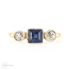 Square Blue Sapphire & Old Cut Diamond Three Stone Ring. Circa 1920s Engagement Ring, 18ct.