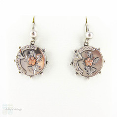 Victorian Sterling Silver & 9ct Earrings, Engraved Rose Flower Small Pierced Drop Earrings. Circa 1880s.