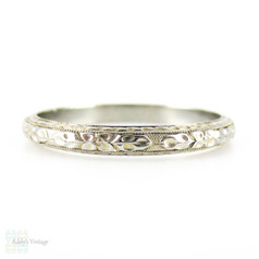 Vintage Engraved Men's Wedding Ring by Belais. Floral Engraving with Milgrain Beading in 18K White Gold. Size X.5 / 11.75, Circa 1930s.