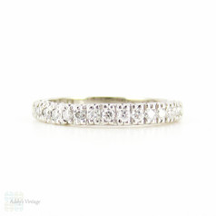 Platinum Diamond Wedding Ring, Vintage 15 Stone Diamond Half Hoop Eternity Band. 0.30 ctw, Size M / 6.25.