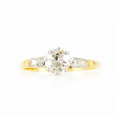 Antique Diamond Engagement Ring, Single Stone Old European Cut Diamond Solitaire. Circa 1910s, 18ct.