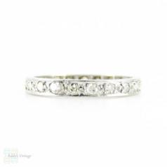 Antique Diamond & Platinum Eternity Ring, Full Hoop Diamond Wedding Band. Circa 1910s, Size L / 5.9.
