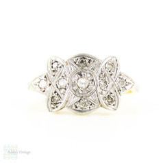 Art Deco Diamond Dress Ring, Stunning Engraved Diamond Ring with Milgrain Beading. Circa 1920s, 18ct & PLAT.