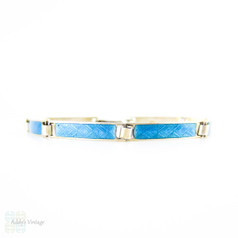 Antique Blue Enamel Bracelet, Guilloché Blue Enamel Sterling Silver Line Bracelet. Circa 1900.